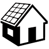 House with solar panels icon